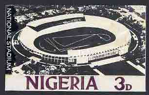 Nigeria - Original artwork probably intended for the 1961 definitive series - showing National Stadium (3d value) by unknown artist in black and white,  8 x 5 mounted on ...