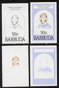 Barbuda 1981 Florence Nightingale 50c set of 4 imperf progressive colour proofs comprising 3 single colours plus 3-colour composite (as SG 546) unmounted mint