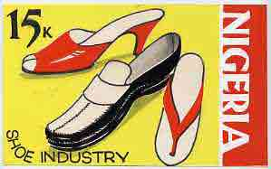 Nigeria - Original artwork essay probably intended for the 1973-74 definitive issue featuring the Shoe industry (15k value) in bright colours by unknown artist 8 x 5 on c...