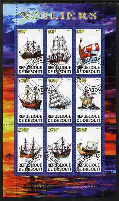 Djibouti 2010 Sailing Ships perf sheetlet containing 9 values fine cto used