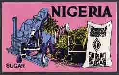 Nigeria - Original undenominated artwork probably submitted as essay for the 1973-74 definitive issue showing Sugar (Cane Harvesting & Refinery Plant) by unknown artist, ...