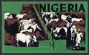 Nigeria - Original undenominated artwork probably submitted as essay for the 1973-74 definitive issue showing Cattle (Inscription cut out from overlay but marked