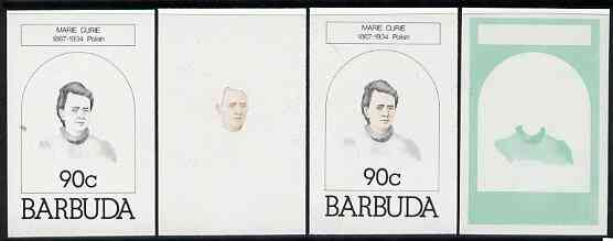 Barbuda 1981 Marie Curie 90c set of 4 imperf progressive colour proofs comprising 3 single colours plus 2-colour composite (as SG 547) unmounted mint