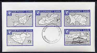 Guernsey - Sark 1964 Maps imperf m/sheet containing the set of 5 with Commodore cancellation