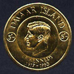 Davaar Island 1965 J F Kennedy the set of five coin shaped in gold foil each in small format and each with background colour omitted (incl the scarce 5s) unmounted mint