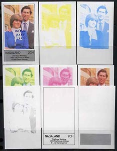 Nagaland 1982 Royal Baby opt on Royal Wedding deluxe sheet, the set of 9 imperf progressive colour proofs comprising single colours and various colour combinations incl completed design unmounted mint