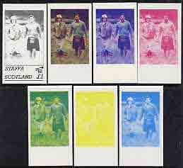 Staffa 1982 Princess Di's 21st Birthday souvenir sheet (\A31 value) the set of 7 imperf progressive colour proofs comprising the four individual colours plus  various colour combinations unmounted mint