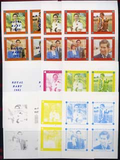 Grunay 1982 Royal Baby opt on Royal Wedding imperf sheetlet containing set of 4 values, the set of 9 imperf progressive colour proofs comprising single colours and various colour combinations incl completed design (36 proofs) unmounted mint