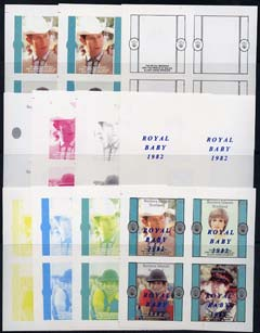 Bernera 1982 Royal Baby opt on Royal Wedding imperf sheetlet containing 4 values, the set of 11 imperf progressive colour proofs comprising single colours and various col...