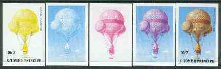 St Thomas & Prince Islands 1980 Balloons 7Db (John Wise) set of 5 imperf progressive proofs comprising blue and magenta single colours, blue & magenta and black & yellow composites plus all four colours unmounted mint