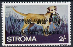 Stroma 1970 Dogs 2s (Labrador) perf single with 'European Conservation Year 1970' opt doubled, one inverted unmounted mint*