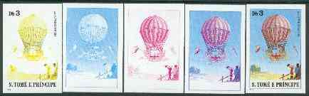 St Thomas & Prince Islands 1980 Balloons 3Db (Von L\9Ftgendorf) set of 5 imperf progressive proofs comprising blue and magenta single colours, blue & magenta and black & yellow composites plus all four colours unmounted mint
