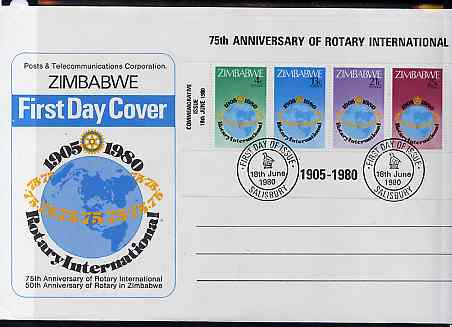 Zimbabwe 1980 75th Anniversary of Rotary International m/sheet on illustrated unaddressed cover with first day cancel, SG MS 595