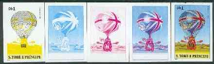 St Thomas & Prince Islands 1980 Balloons 1Db (Lunardi II) set of 5 imperf progressive proofs comprising blue and magenta single colours, blue & magenta and black & yellow composites plus all four colours unmounted mint