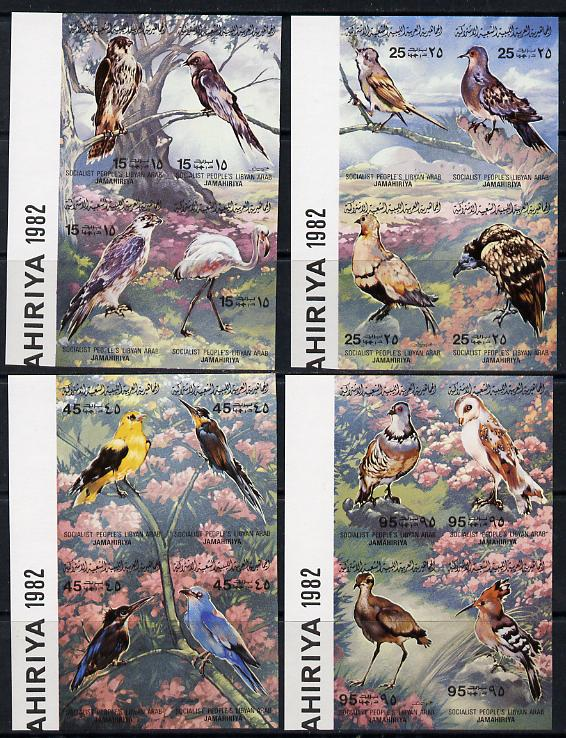 Libya 1982 Birds imperf set of 16 (4 x se-tenant blocks of 4) unmounted mint SG 1190-1205