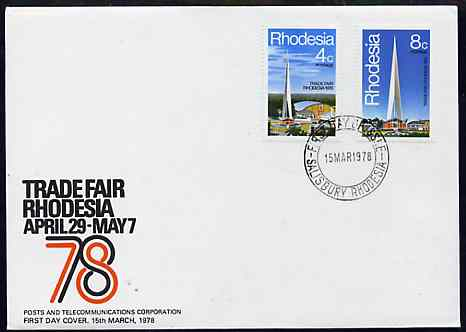 Rhodesia 1978 Trade Fair set of 2 on Official unaddressed cover with first day cancel, SG 553-54