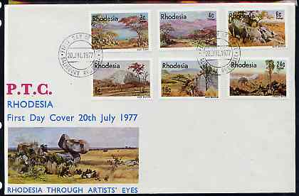 Rhodesia 1977 Landscape Paintings set of 6 on illustrated unaddressed cover with first day cancel, SG 543-48