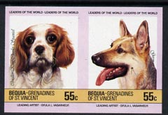 St Vincent - Bequia 1985 Dogs (Leaders of the World) 55c (King Charles & GSD) imperf se-tenant pair unmounted mint
