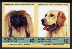 St Vincent - Bequia 1985 Dogs (Leaders of the World) $2 (Pekinese & Golden Retriever) imperf se-tenant pair unmounted mint