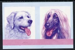 St Vincent - Bequia 1985 Dogs (Leaders of the World) 25c (Kuvasz & Afghan Hound) imperf se-tenant proof pair in magenta & blue only unmounted mint
