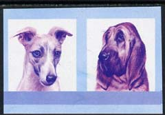 St Vincent - Bequia 1985 Dogs (Leaders of the World) 35c (Bloodhound & Whippet) imperf se-tenant proof pair in magenta & blue only unmounted mint