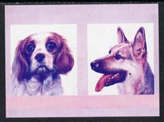 St Vincent - Bequia 1985 Dogs (Leaders of the World) 55c (King Charles & GSD) imperf se-tenant proof pair in magenta & blue only unmounted mint
