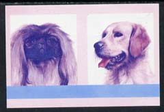 St Vincent - Bequia 1985 Dogs (Leaders of the World) $2 (Pekinese & Golden Retriever) imperf se-tenant proof pair in magenta & blue only unmounted mint