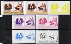St Vincent - Bequia 1985 Dogs (Leaders of the World) 55c (King Charles & GSD) set of 7 imperf se-tenant progressive proof pairs comprising the 4 individual colours, plus 2, 3 and all 4-colour composites, unmounted mint