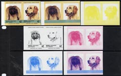 St Vincent - Bequia 1985 Dogs (Leaders of the Wo unmounted mintrld) $2 (Pekinese & Golden Retriever) set of 7 imperf se-tenant progressive proof pairs comprising the 4 individual colours, plus 2, 3 and all 4-colour composites