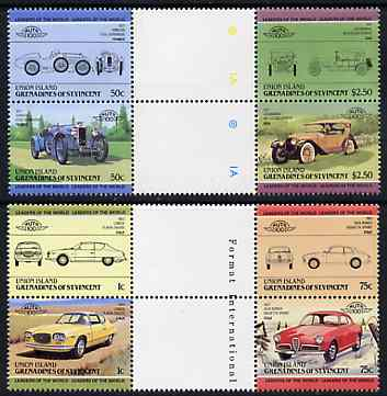 St Vincent - Union Island 1985 Cars #1 (Leaders of the World) set of 8 in se-tenant gutter pairs (folded through gutters or perfs) from uncut archive proof sheet unmounte...