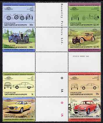 St Vincent - Union Island 1985 Cars #1 (Leaders of the World) set of 8 in se-tenant cross-gutter block (folded through gutters or perfs) from uncut archive proof sheet, some split perfs & wrinkles but a rare archive item unmounted mint, stamps on cars    locomobile     alfa     allard    lancia