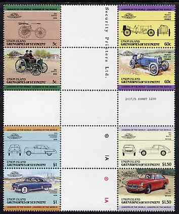 St Vincent - Union Island 1985 Cars #2 (Leaders of the World) set of 8 in se-tenant cross-gutter block (folded through gutters or perfs) from uncut archive proof sheet, some split perfs & wrinkles but a rare archive item unmounted mint