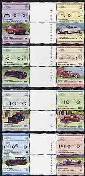 St Vincent - Union Island 1985 Cars #3 (Leaders of the World) set of 16 in se-tenant gutter pairs (folded through gutters or perfs) from uncut archive proof sheets unmounted mint