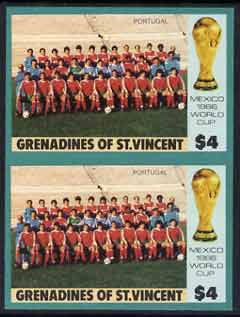 St Vincent - Grenadines 1986 World Cup Football $4 (Portugal Team) in unmounted mint imperf pair, previously unrecorded, SG 474var