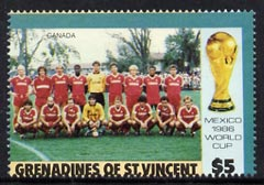 St Vincent - Grenadines 1986 World Cup Football $5 (Canada Team) unmounted mint with perfortions slightly misplaced (horiz perfs encroach onto Country name)