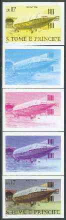 St Thomas & Prince Islands 1980 Airships 17Db (Mayfly) set of 5 imperf progressive proofs comprising blue and magenta single colours, blue & magenta and black & yellow composites plus all four colours unmounted mint