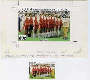 St Vincent - Bequia 1986 World Cup Football original artwork for 60c value (Denmark Team) comprising coloured photograph and overlay with text with several printer's notations, 125 x 75 mm (plus issued stamp)