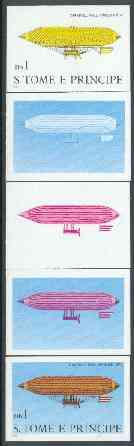 St Thomas & Prince Islands 1980 Airships 1Db (Paul Hanlein) set of 5 imperf progressive proofs comprising blue and magenta single colours, blue & magenta and black & yellow composites plus all four colours unmounted mint