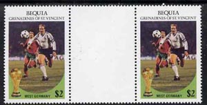 St Vincent - Bequia 1986 World Cup Football $2 (West Germany) gutter pair (unfolded) from uncut archive proof sheet unmounted mint