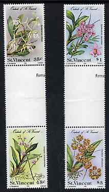 St Vincent 1985 Orchids set of 4 in se-tenant gutter pairs (folded through gutters) from uncut archive proof sheet unmounted mint (SG 850-53)