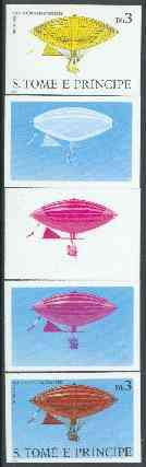 St Thomas & Prince Islands 1980 Airships 3Db (Gaston Brothers) set of 5 imperf progressive proofs comprising blue and magenta single colours, blue & magenta and black & yellow composites plus all four colours unmounted mint