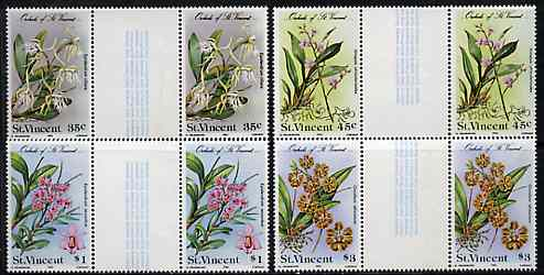 St Vincent 1985 Orchids set of 4 in gutter pairs (folded through gutters) from uncut archive proof sheet unmounted mint (SG 850-53)