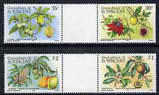 St Vincent - Grenadines 1985 Fruits & Blossoms set of 4 in se-tenant gutter pairs (folded through gutters) from uncut archive proof sheet (SG 398-401) unmounted mint