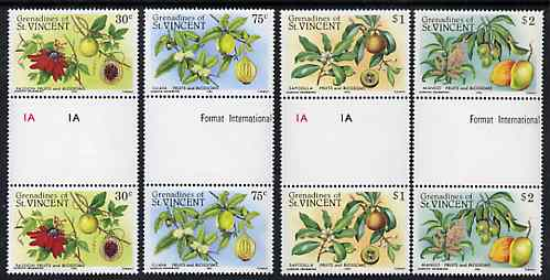 St Vincent - Grenadines 1985 Fruits & Blossoms set of 4 in unfolded gutter pairs from uncut archive proof sheet (SG 398-401) unmounted mint
