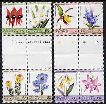 St Vincent - Grenadines 1985 Flowers (Leaders of the World) set of 8 in se-tenant gutter pairs (folded through gutters) from uncut archive proof sheet (SG 370-77) unmounted mint
