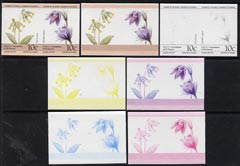 St Vincent - Bequia 1985 Flowers (Leaders of the World) 10c (Primula veris & Pulsatilla vulgaris) set of 7 imperf se-tenant progressive proof pairs comprising the 4 individual colours, plus 2, 3 and all 4-colour composites unmounted mint