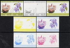 St Vincent - Bequia 1985 Flowers (Leaders of the World) $2.50 (Protea laurifolia & Thunbergia grandiflora) set of 7 imperf se-tenant progressive proof pairs comprising the 4 individual colours, plus 2, 3 and all 4-colour composites unmounted mint