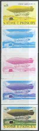 St Thomas & Prince Islands 1980 Airships 8Db (Ville de Lucerne) set of 5 imperf progressive proofs comprising blue and magenta single colours, blue & magenta and black & yellow composites plus all four colours unmounted mint