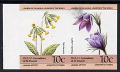 St Vincent - Bequia 1985 Flowers (Leaders of the World) 10c (Primula veris & Pulsatilla vulgaris) imperf se-tenant pair unmounted mint