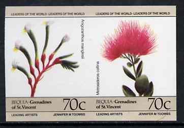 St Vincent - Bequia 1985 Flowers (Leaders of the World) 70c (Anogozanthos manglesii & Metrosideros collina) imperf se-tenant pair unmounted mint